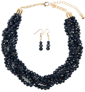 Riah Fashion Women's Earrings NAVY - Navy Crystal & Goldtone Twist Beaded Statement Necklace Set