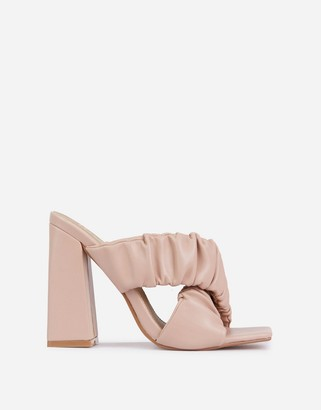 Ego x Molly-Mae Larchmont ruched block heeled mules in beige