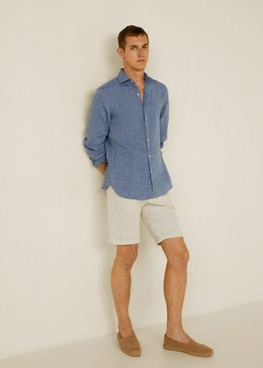 MANGO 100% linen slim fit shirt