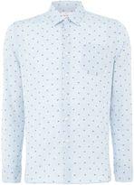 Peter Werth Men's Union Palm Print Cotton Shirt Ice Blue