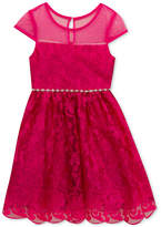 Rare Editions Lace Illusion-Top Dress, Little Girls