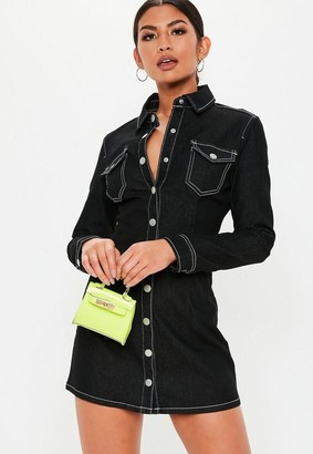 Missguided Black Button Through Fitted Denim Dress