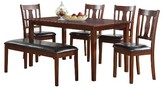 ACME Furniture 6 Piece Jayden Dining Set Wood/Brown Cherry - Acme