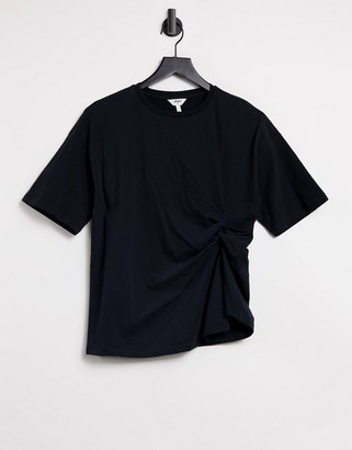Object t-shirt with ruching in black