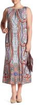 London Times Sleeveless Pleat Neck Maxi Dress (Plus Size)