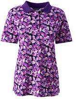 Classic Women's Plus Size Pima Polo Shirt-Ivory/Washed Strawberry Stripe