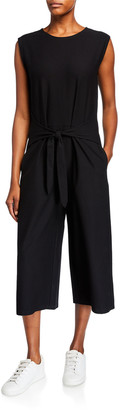 Eileen Fisher Cropped Stretch Crepe Cap-Sleeve Tie-Front Jumpsuit