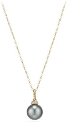 David Yurman Solari Pendant Necklace with Tahitian Grey Pearl & Diamonds in 18K Gold
