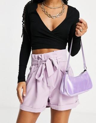UNIQUE21 paperbag waist shorts in mauve