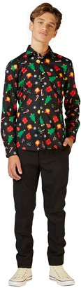 Icons Opposuits Boys 10-16 OppoSuits Christmas Black Shirt