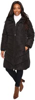 Jessica Simpson Plus Size Chevron Quilted Poly Down Coat with Hood