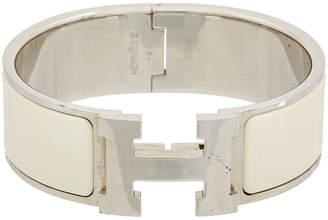 Hermes Palladium-Plated & White Enamel Wide Clic-Clac H Bracelet
