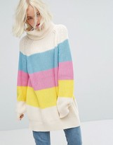 Lazy Oaf Oversized Roll Neck Knitted Sweater With Sorbet Panels