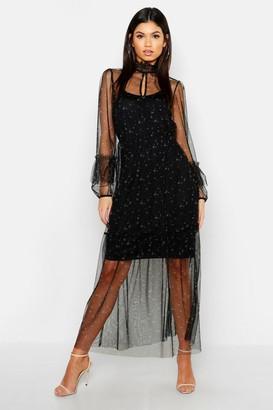 boohoo Boho Ditsy Floral Shirring Detail Maxi Dress