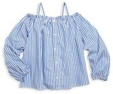 Ralph Lauren and Little Girls Off-The-Shoulder Striped Cotton Top