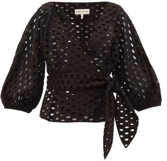 Mara Hoffman Libby Broderie-anglaise Cotton Wrap Top - Black