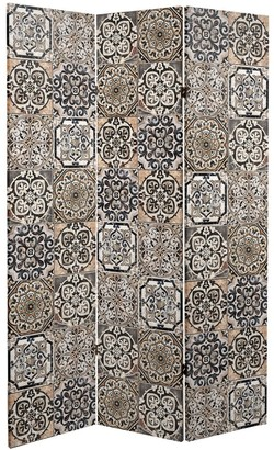 Oriental Furniture Handmade 6' Double Sided Victorian Tile Canvas Room Divider