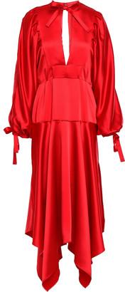 Self-Portrait Asymmetric Cutout Satin Peplum Midi Dress