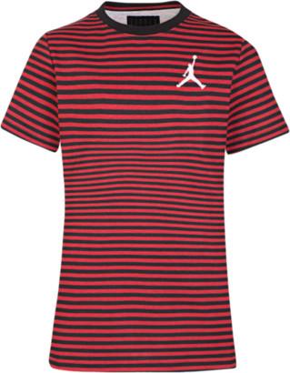 Jordan AJ Striped T-Shirt - Gym Red / White Black