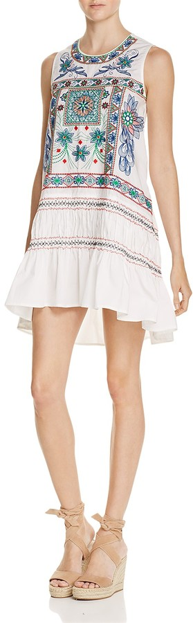Freeway Embroidered Ruffle Trapeze Dress