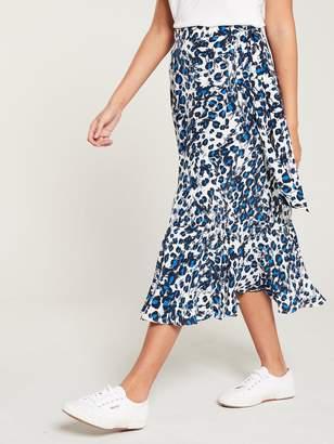 Whistles Brushed Leopard Wrap Skirt - Blue Multi