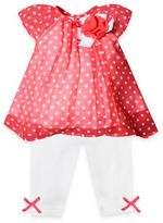 Baby Essentials 2-Piece Dot Chiffon Top and Legging Set in Coral/White