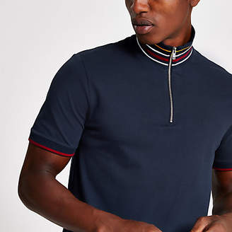 River Island Selected Homme navy zip polo shirt