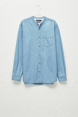 French Connection Denim Grandad Collar Shirt