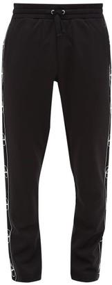 Valentino V-logo Jacquard-stripe Jersey Track Pants - Mens - Black