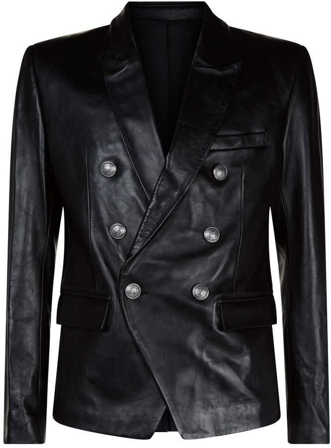 Balmain Leather Double-Breasted Blazer