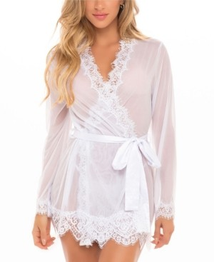 Oh La La Cheri Women's Lace Robe With Satin Sash and G-String 2pc Lingerie Set