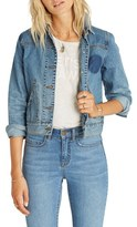 Billabong Women's 'Floral Crush' Embellished Denim Jacket