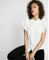 Express ruffle yoke short sleeve shirt
