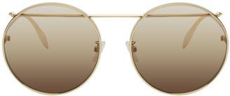 Alexander McQueen Gold Metal Round Sunglasses