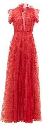 Giambattista Valli Ruffled Floral-embroidered-tulle Gown - Red