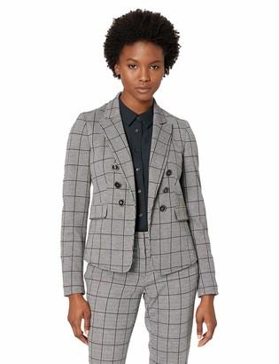 Kasper Women's Petite 6 Button Peak Lapel Double Breasted Plaid Jacket