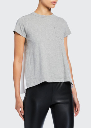 Sacai Pleated Poplin-Back Tee