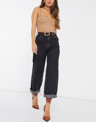 ASOS DESIGN high rise 'worker' jeans in washed black
