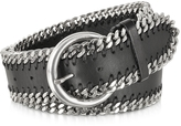 Forzieri Black Leather Chain Belt