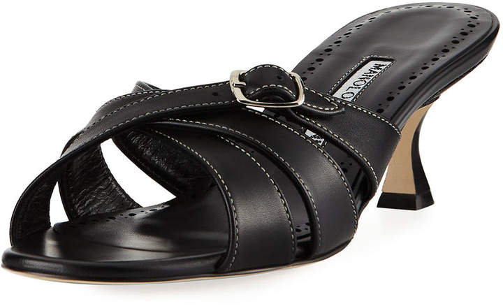 Manolo Blahnik Ducato Strappy Leather Slide Sandal