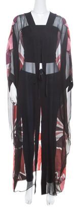 Gucci Black Stained Glass Metallic Jacquard Silk Chiffon Sheer Kaftan S