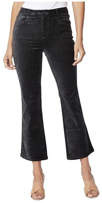 Paige Claudine w/ Double Button + Joxxi Pockets (Black Overdye Velvet) Women's Jeans