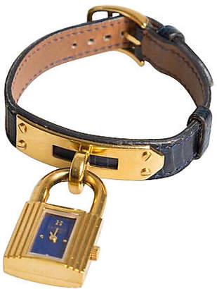 One Kings Lane Vintage Hermes Kelly Watch Navy Lizard & Gold - Vintage Lux