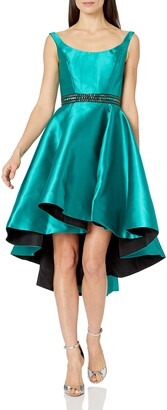 Mac Duggal Women's High Low Mikido Satin Dress Sleeveless Scoop Neckline