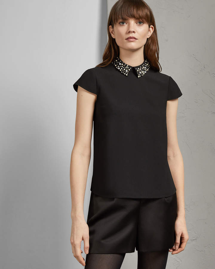 50ad3f1aa5d7 Embellished Collar Top - ShopStyle