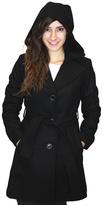Michael Kors Black Belted Wool-Blend Peacoat