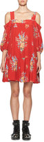 Alexander McQueen Island Bouquet Off-the-Shoulder Dress, Red
