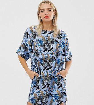 Monki jungle print oversized mini dress in blue