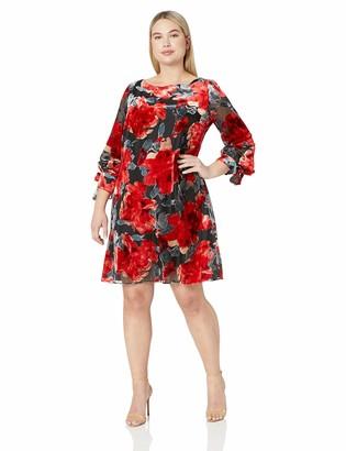 Taylor Dresses Women's Plus Size Long Sleeve tie Floral Shift Dress