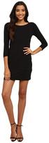 Mod-o-doc Cotton Modal Spandex Jersey 3/4 Sleeve Asymmetrical Tiered Dress